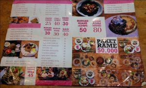 tempat makan enak di kota Medan | Daftar menu Yona Cafe Medan