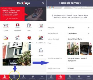 tempat ngopi murah di Jakarta, Cara Add Place tempat baru