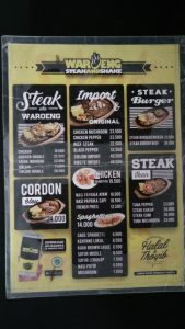 tempat makan steak murah di Medan, Menu di Waroeng Steak and Shake Medan